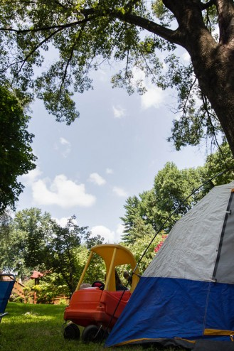 A beautiful day, unbelievable temperature...and no where to go. We decided to put up the tent and hang out in the backyard.